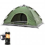 Палатка автоматическая 4-х местная  Зеленый + Фонарь для кемпинга