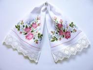 Рушник свадебный льняной Галерея льна Роза 35х90 см Белый с разноцветной вышивкой и кружевом (85-04/042/01к/76)