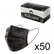 Маска медична тришарова ССС чорна, 50 шт