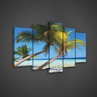 Модульная картина на холсте 2x40x60/2x30x80/1x30x100 см Пальмы и море (PS143S18)