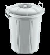Бак для мусора пластиковый с крышкой на защелке AKAY 70л серый AK 227