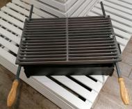 Чугунная решетка гриль-барбекю 52х32 см с ручками 17 прутьев