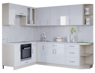 Кухня кутова зі стільницею без мийки Еверест Модерн набір 3.73 м Білий глянець МДФ (00852)