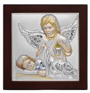 Икона Ангела Хранителя 10х10 см в серебре в деревянной рамке