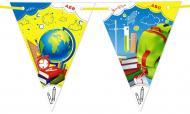 Гірлянда паперова Світ поздоровлень прапорці 12 од на атласній стрічці 270х24 см (1,098)