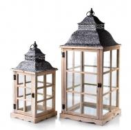 Комплект деревянных подсвечников-фонарей Flora Levi Natural 2 шт. (35255)