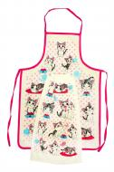 Набор для кухни  Кошенята фартук влагонепроницаемый/полотенце махровое 30х50 см 350г/м2