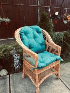 Крісло дерев'яне Woody Стандарт з подушкою садове Світле дерево/Блакитний
