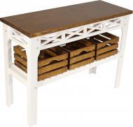Консольный столик Древоделя Прованс 3 77х105х40 см Белая эмаль/Орех (60624)