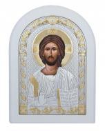 Икона Спаситель Agio Silver 20x15 см серебро 925° с позолотой Белый