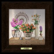 Картина металлическая с деревянной рамой Прованс Букет тюльпанов 230х230 мм Коричневый (пркм04к15х15)
