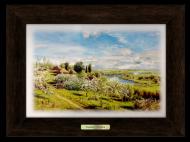 Картина декоративная металл/дерево Украина Хутор с яблоневым цветом 230х305 мм Коричневый (уккм03к15х22)