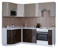 Кухня кутова зі стільницею без мийки Еверест Модерн набір 3.2 м Мокко глянец/Шоколад глянець МДФ (00855)