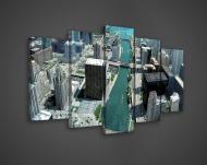 Модульная картина на холсте 2x20x40/2x20x50/1x20x60 см Вид на город сверху (PS114S17)
