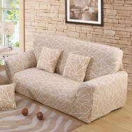 Чохол на двомісний диван HomyTex з малюнком Геометрія Бежевий