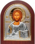 Икона Спасителя Иисус арочной формы 10,7х12,8 см Серебряный