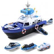 Набір корабель Six-six-zero з машинками зі світлом і звуком Синій (58144)
