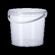 Ведро пищевое прозрачное с широкой ручкой 10 л 15 шт/уп