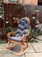 Крісло-гойдалка Woody 4 для саду з подушкою Бук/Штучний ротанг Світле дерево