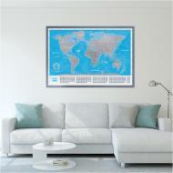 Скретч карта мира Divalis Большая с аксессуарами в тубусе