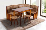 Кухонний куточок м'який з дерева Мікс Меблі Канзас зі столом і двома табуретами Горіх/Коричневий