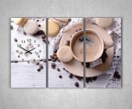 Картина модульная с часами для кухни 3 модуля 90х60 см (1000070Ч)