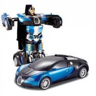 Машинка на радиоуправлении Трансформер Bugatti Robot Car Size 1:18 Синий/Черный