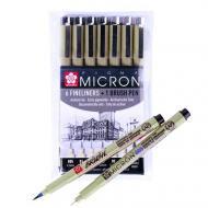 Набір лайнерів Sakura Pigma Micron 6 шт. та Brush в подарунок (POXSDK7B)