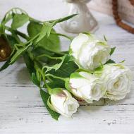 Цветок искусственный Роза 70 см Белый