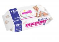 Вологі серветки Discount Extra з пластиковою кришкою для дітей з екстрактом ромашки 120 шт. (4820180331024)