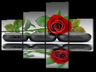 Картина модульная Interno Три черных камня и роза 126x94 см (A652M)