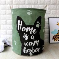 Кошик для білизни Berni Home Dog тканинний з ручками Зелений (58466)