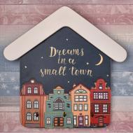 Настенная ключница Dreams in a small town 18х18см 3 крючка (kmm0401)