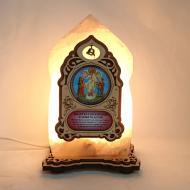 Соляная лампа Икона маленькая Ангел Хранитель с Детьми желтого подсвечивания. (20026)