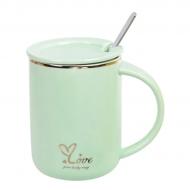 Чашка-заварочник фарфоровая Flora Love 0,43 л Салатовый (31813)