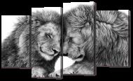 Модульная картина Interno Искусственный холст Два льва 126х77см (Z755L)