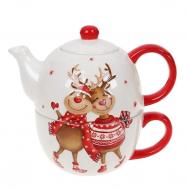 Чайный набор керамический Flora чашка 400 мл чайник 480 мл 32056
