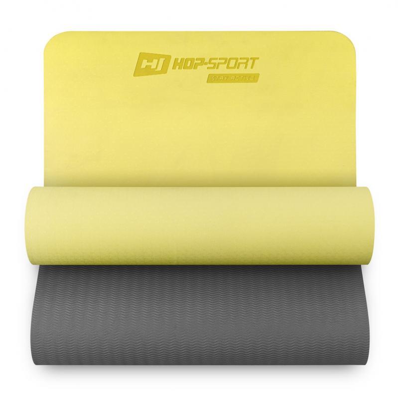 Килимок для фітнесу та йоги Hop-Sport HS-T006GM TPE 0,6 см Жовто-сірий - фото 1