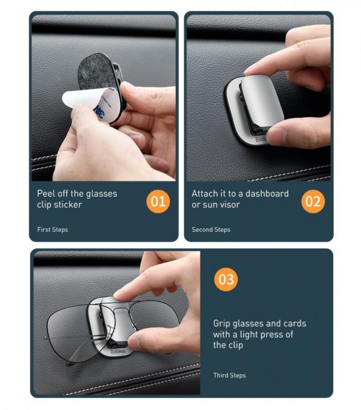 Автомобільний тримач для окулярів Baseus Platinum Vehicle Eyewear Clip Black (ACYJN-A01) - фото 8