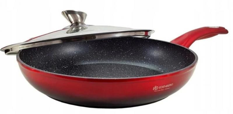 Сковорода Edenberg 28 см с мраморным покрытием и крышкой (EB-3340) - фото 1