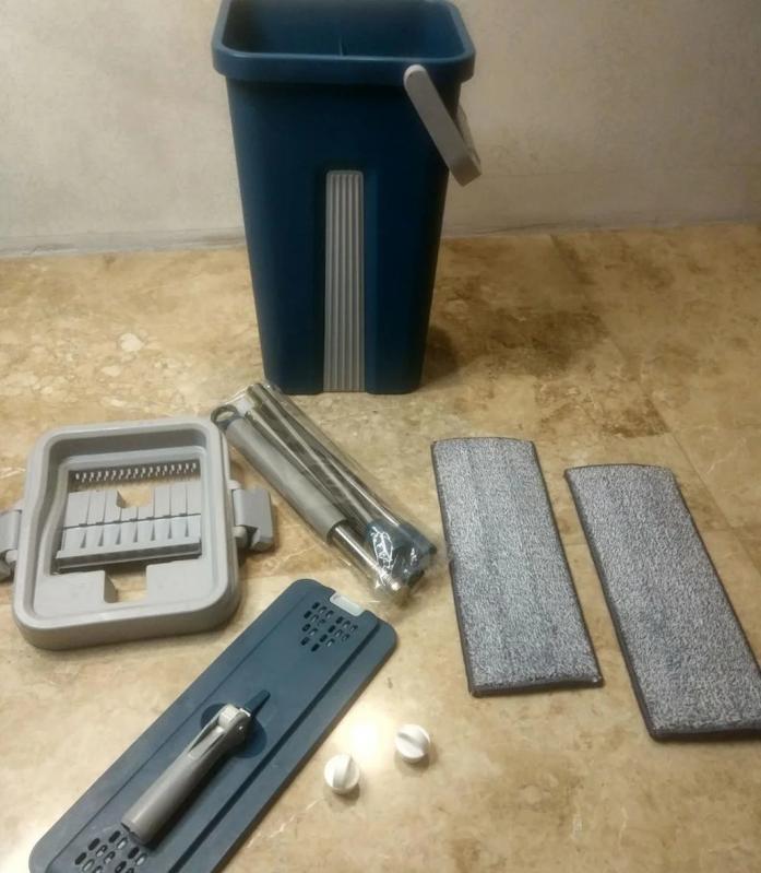 Швабра і відро з автовіджимом Scratch Cleaning Mop Original Синій - фото 8