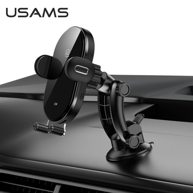 Автомобільний тримач з бездротовою зарядкою QI на панель USAMS US-CD131 Чорний - фото 3