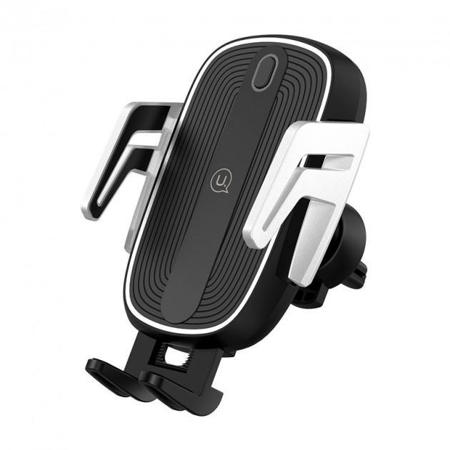 Тримач для телефону Usams US-CD101 Automatic Touch Induction з бездротовою зарядкою Black/Silver - фото 1