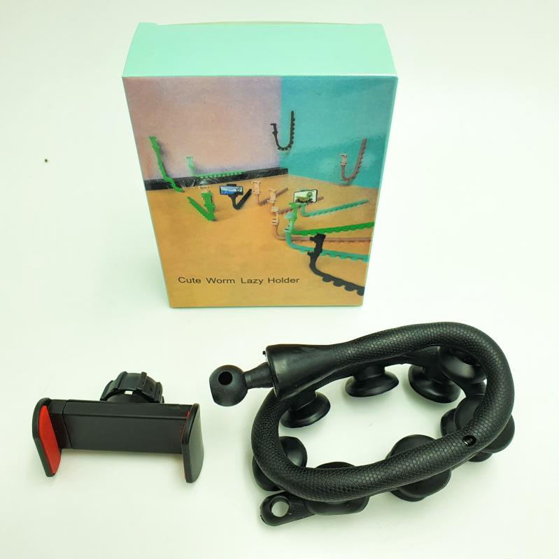 Тримач гнучкий для телефону Cute Worm Lazy Holder з присосками Чорний - фото 5