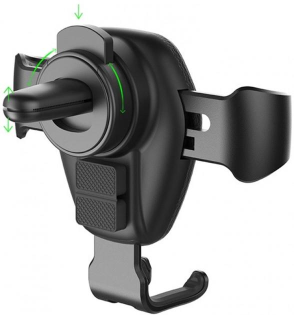 Автомобільний тримач з бездротовою зарядкою QI на дефлектор AWEI CW2 10W Чорний - фото 3