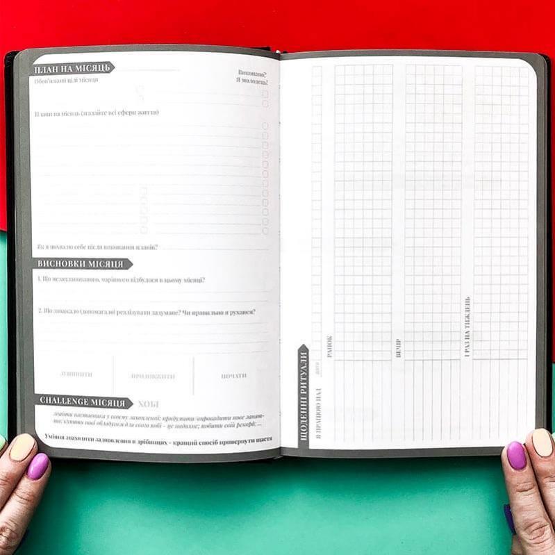 Планер-щоденник LifeFLUX My perfect day українська мова А5 Графітовий/Червоний - фото 9