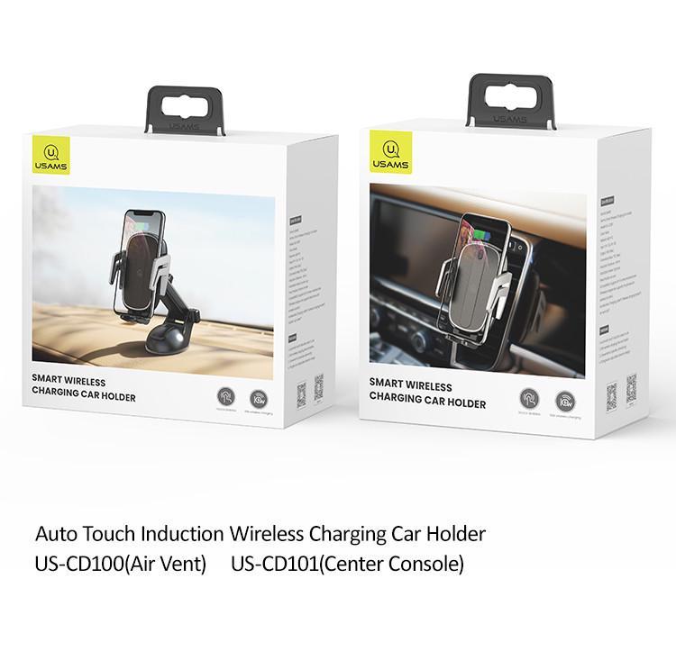 Автомобільний тримач на дефлектор з бездротовою зарядкою QI для телефона, смартфона USAMS US-CD100 - фото 10