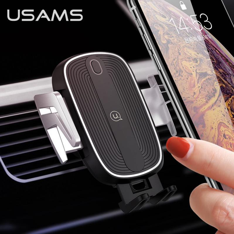 Автомобільний тримач на дефлектор з бездротовою зарядкою QI для телефона, смартфона USAMS US-CD100 - фото 9