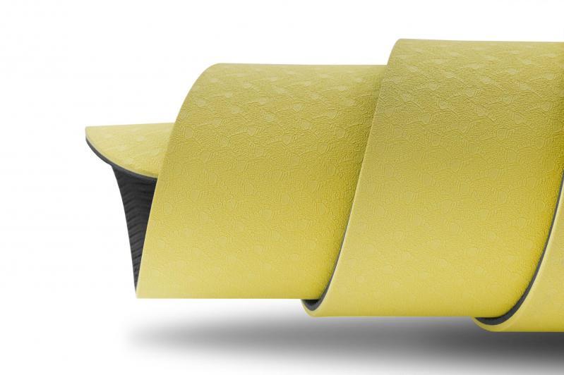 Килимок для фітнесу та йоги Hop-Sport HS-T006GM TPE 0,6 см Жовто-сірий - фото 6