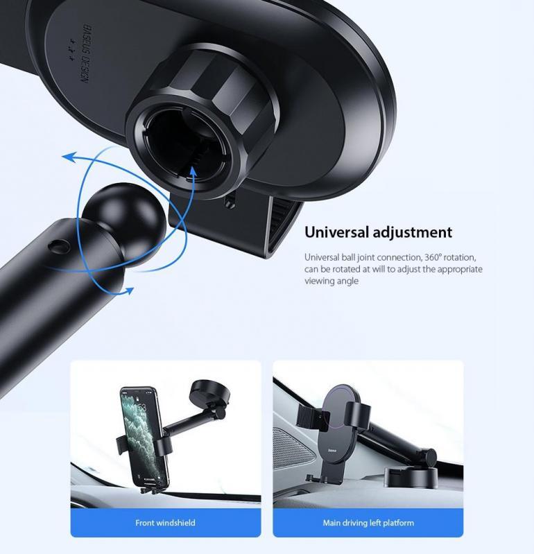 Тримач для телефону Baseus Simplism gravity car mount в машину Black - фото 10